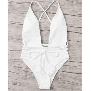 Other - RAINA🌴 white one piece swimsuit strappy wrap
